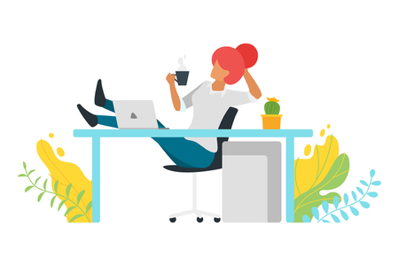 Coffee break concept with businesswoman reclining with his feet up on desk and holding cup at the workplace. Modern office illustration. Minimalism design with people silhouettes.