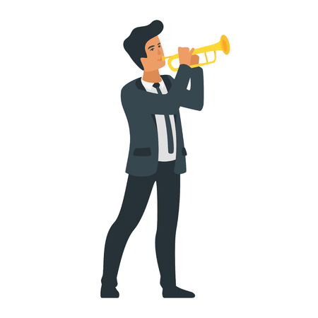Vector flat style young musician with trumpet. Singing jazz beautiful man character. Minimalism design with people silhouettes.