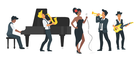 Vector flat style young singer with microphone and musician with guitar, piano, saxophone and trumpet. Singing jazz beautiful Afro american woman character. Minimalism design with people silhouettes.