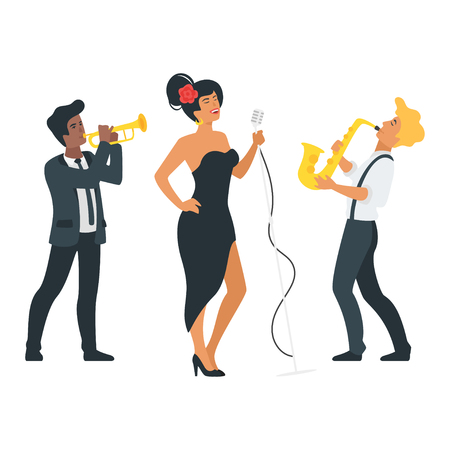 Vector flat style young singer with microphone and musician with saxophone and trumpet. Singing jazz beautiful Caucasian woman character. Minimalism design with people silhouettes. Zdjęcie Seryjne - 127723091