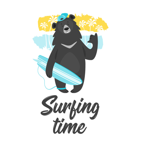 Cartoon vector cool black bear surfer bear holding surfboard, background with abstract sea shore. Template design for kids t-shirt print. Surfing time text.