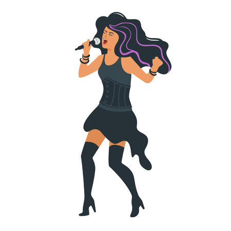 Vector flat style young rock metal singer with microphone. Singing beautiful woman character. Minimalism design with people silhouettes.