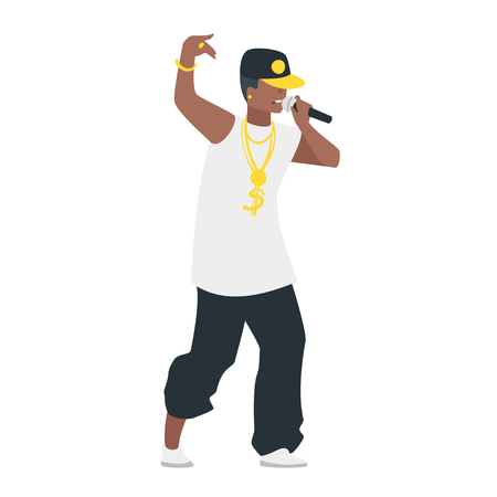Vector flat style hip hop young singer with microphone. Singing beautiful rap man character. Minimalism design with people silhouettes.
