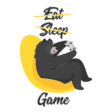 Cartoon vector cool black bear holding game controller and gaming, isolated on white background. Template design for t-shirt print. Eat, sleep, game text.