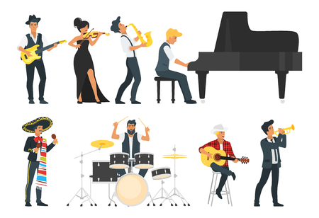 Vector flat style young musician with different instruments: guitar, saxophone, drum and piano. Beautiful woman man character. different styles of music. Minimalism design with people silhouettes.