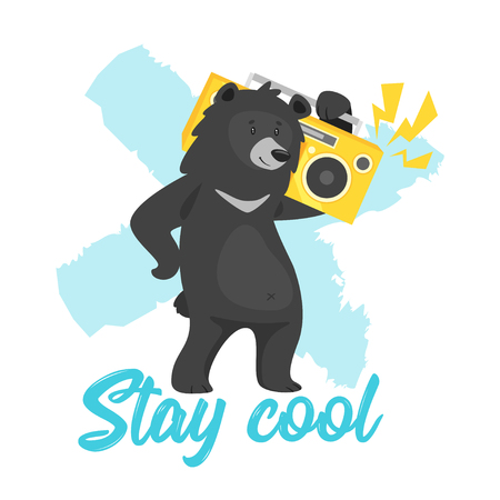Cartoon vector cool black bear holding boombox and dancing, isolated on white background. Template design for kids t-shirt print. Stay cool text.