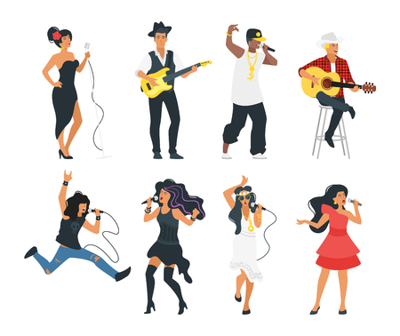 Vector flat style young singer with microphone and musician with instruments set. Singing rock, jazz, hip-hop and pop beautiful woman and man character. Minimalism design with people silhouettes.