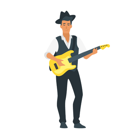 Vector flat style young acoustic guitar musician. Singing beautiful woman man character. Minimalism design with people silhouettes.