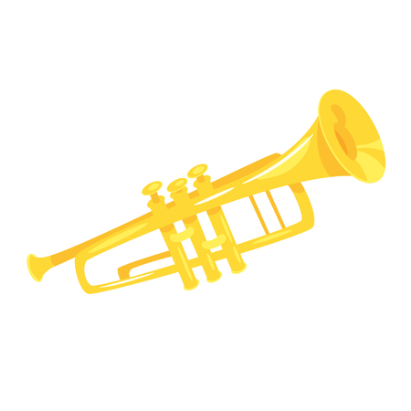 Music instrument - trumpet, design for any purposes. Vector illustration.