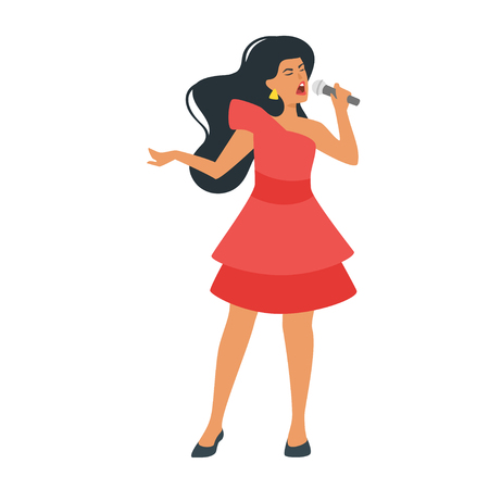 Vector flat pop style young singer with microphone. Singing beautiful woman character in red dress. Minimalism design with people silhouettes.