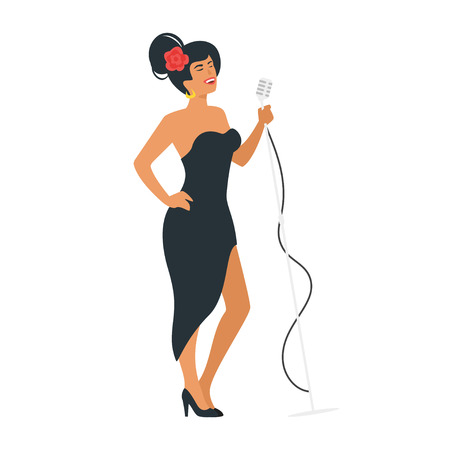 Vector flat style jazz young singer with vintage microphone. Singing beautiful woman character in black dress. Minimalism design with people silhouettes.