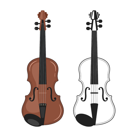 Music instrument - violin, design for any purposes. Colorful and monochrome icon for logo. Vector illustration.