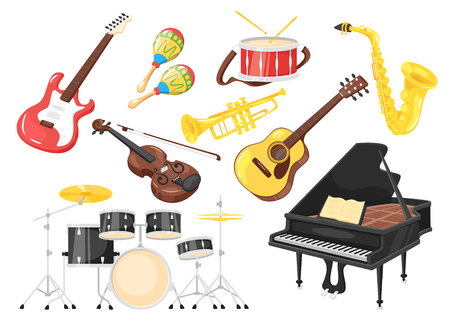 Music instruments for performance: piano, violin, drum. Cartoon style, vector illustration isolated on white background.