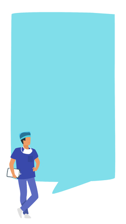 Doctor speech bubble. Physician standing behind big empty speech bubble. Design for social media to write healthcare information or comment. Stories template. Minimalism design with people silhouettes Illusztráció