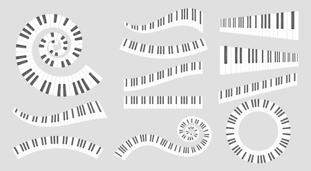 Musical instrument keys. Vector set isolated on grey background. Imagens - 127701404