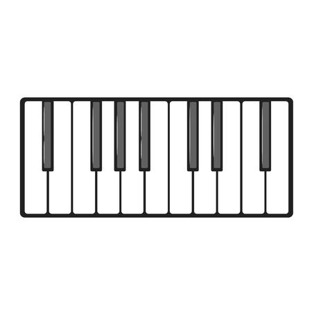 Musical instrument keys. Vector illustration isolated on white background. Ilustracja