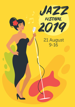Jazz poster background. Vector template for festival event with young singer with vintage microphone. Singing beautiful woman character in black dress. Minimalism design with people silhouettes. Illusztráció