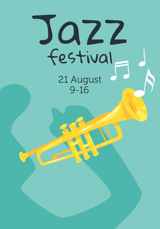 Jazz poster background. Vector template for festival event with cartoon trumpet. Vertical composition.