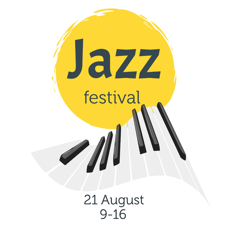 Jazz poster background. Vector template for festival event with musical instrument keys.Vertical composition.