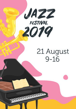 Jazz poster background. Vector template for festival event with musical instruments. Vertical composition.