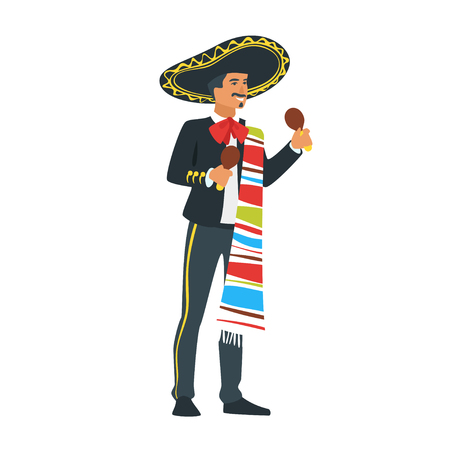 Vector flat style young Mexican Mariachi musician in sombrero playing maracas. Beautiful man character in traditional costume. Minimalism design with people silhouettes. Archivio Fotografico - 127701414