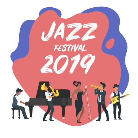Jazz poster background. Vector template for festival event with minimalism people silhouettes.