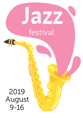Jazz poster background. Vector template for festival event with cartoon saxophone. Vertical composition. Illusztráció
