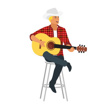 Vector flat young country style singer with guitar sitting on chair. Beautiful man character in cowboy hat. Minimalism design with people silhouettes. Illusztráció