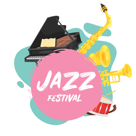 Jazz poster background. Vector template for festival event with musical instruments. Illusztráció