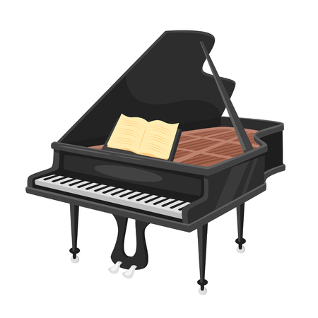 Music instrument - piano, design for any purposes. Vector illustration.