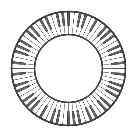 Musical instrument keys. Round shape for decoration design. Vector illustration isolated on white background.