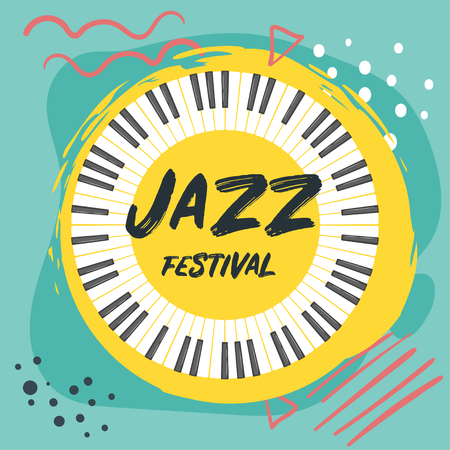 Jazz poster background. Vector template for festival event with musical instrument keys. Round shape for decoration design. Vector illustration. Illusztráció
