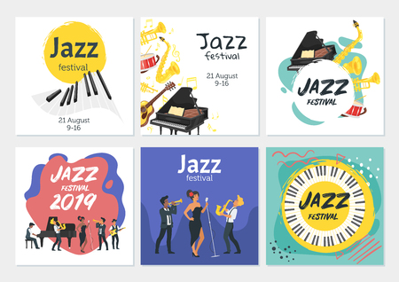 Jazz poster background. Vector set template for festival event with musical instruments and singer character. Square composition. Archivio Fotografico - 127701433
