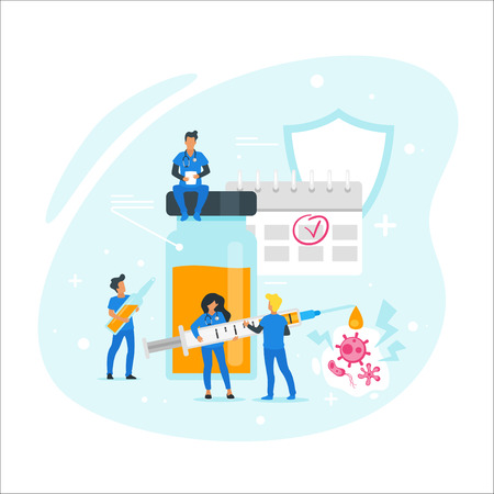 Injection vaccine medicine concept. Doctor standing around and holding medicine syringe. Immunization treatment. Minimalism design with people silhouettes and exaggerated objects. Vector illustration.