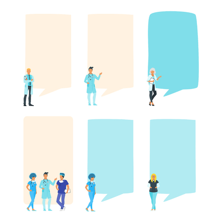 Doctor speech bubble set. People standing in front of a big empty banner. Design for social media to write healthcare information. Stories template. Minimalism design with people silhouettes Archivio Fotografico - 127635373