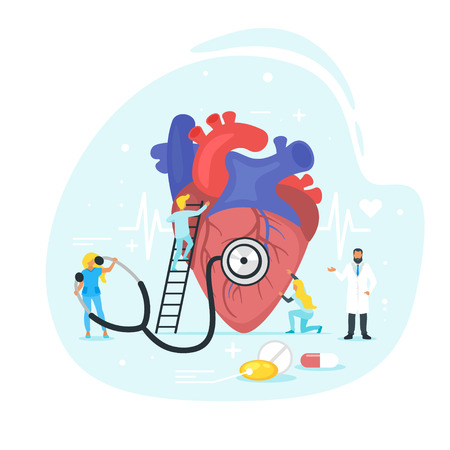 Heart treatment concept. Doctor standing around and examine the heart work with big stethoscope. Minimalism design with people silhouettes and exaggerated objects. Vector illustration.