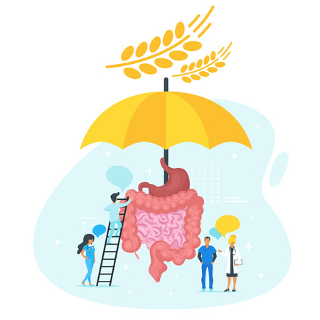 Doctor standing around intestines and talk. Big umbrella  protect guts from gluten. Speech bubbles. Minimalism design with people silhouettes. Gluten intolerance concept. Vector illustration.
