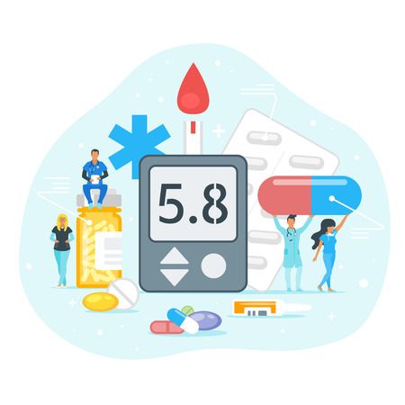 Diabetes treatment concept. Doctor standing around glucose meter and holding pills. Minimalism design with people silhouettes and exaggerated objects. Vector illustration. Ilustracja