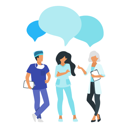 Doctor speech bubble. Physician talk and discuss professional information. Vector illustration. Minimalism design with man and woman silhouettes. Archivio Fotografico - 127635377