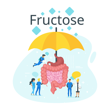 Doctor standing around intestines and talk. Big umbrella protect guts from fructose intolerance. Speech bubbles. Minimalism design with people silhouettes and exaggerated objects. Vector illustration. Ilustracja
