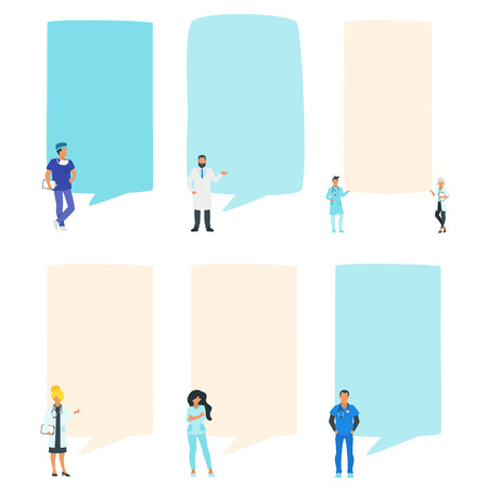 Doctor speech bubble set. People standing in front of a big empty banner. Design for social media to write healthcare information. Stories template. Minimalism design with people silhouettes