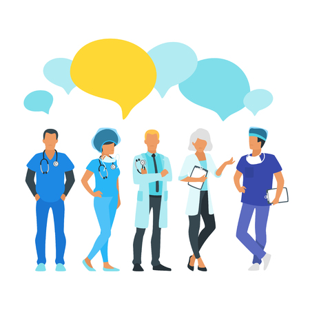 Doctor speech bubble. Physician talk and discuss professional information. Vector illustration. Minimalism design with man and woman silhouettes.