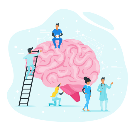 Treatment of brain diseases concept. Doctor standing around and examine organ. Minimalism design with people silhouettes and exaggerated objects. Vector illustration. Ilustracja