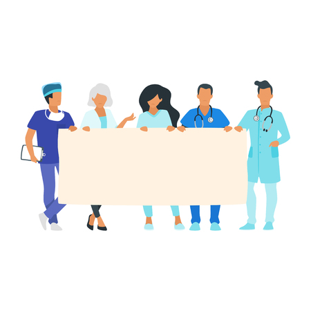 Doctors holding blank placard or banner. Young physician man and woman standing together. Minimalism vector design with people silhouettes.