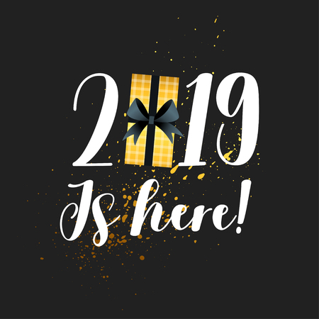 2019 New Year and Christmas greeting card background. Vector holiday design with Xmas present. Black and gold color. Archivio Fotografico - 127141652