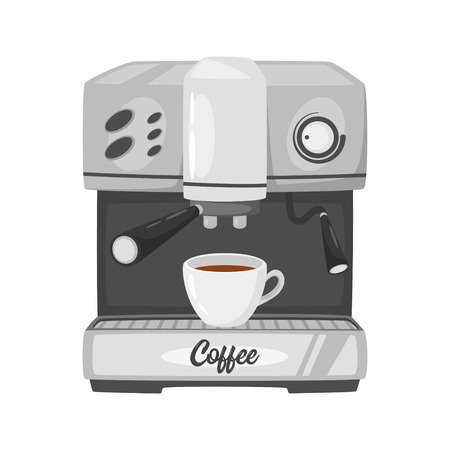 Coffee machine icon for menu design. Vector illustration, isolated on white background. Ilustração