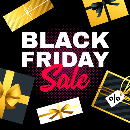 Black Friday sale banner vector illustration with presents around. Vettoriali