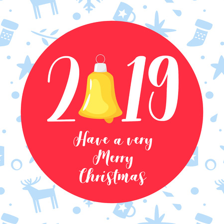 2019 New Year and Christmas greeting card background. Vector holiday design with festive pattern at the background and red circle and wishes inside.
