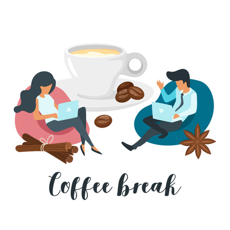 Coffee break concept with business people working with laptop and sitting on Bean Bag. Social networking concept. Modern office illustration. Minimalism design with people silhouettes and beverage cup Vettoriali