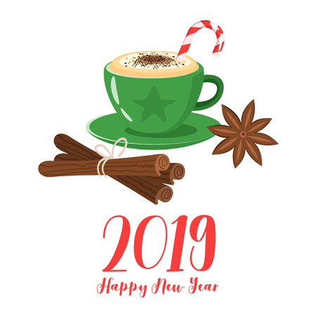 Coffee poster template for restaurant wall design. Print lettering for brochure or cafe menu. Cappuccino cup with Christmas candy cane, cinnamon and anise. Vector illustration. 2019 Happy New Year.